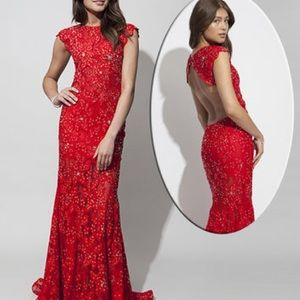 Brand new red Jovani fitted evening gown
